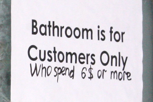"""Bathroom is for customers only who spend $6 or more,"" Coney Island, Brooklyn"