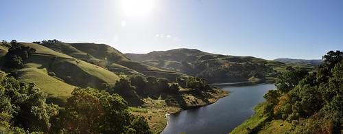 morning panorama sun water shadows reservoir hills stitched johnk calaverasroad calaverasreservoir specland d5000 johnkrzesinski randomok