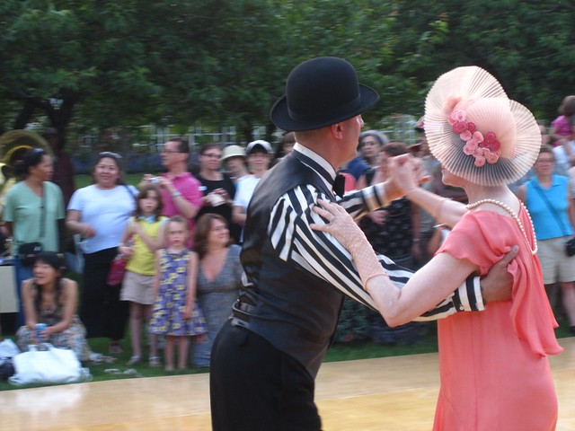 Jazz Age dancing on Cherry Esplanade during the BBG Members' Centennial Evening. Photo by Rebecca Bullene.