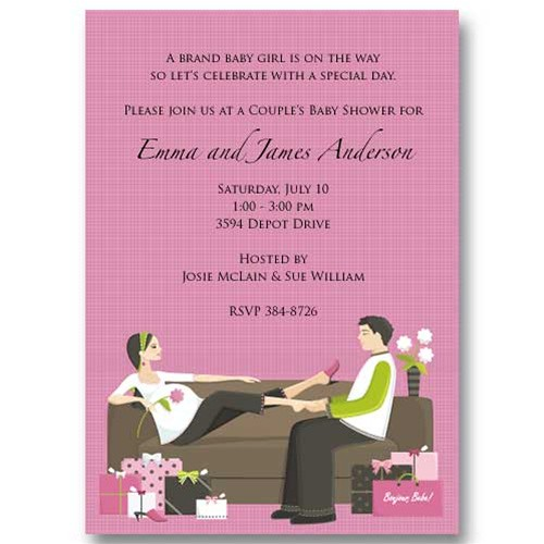 trendy pink couples baby shower invitations flickr photo sharing