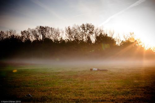 portrait selfportrait fall field fog sunrise 365 plank selfie facedown planking fgr 365days fdt goplanking