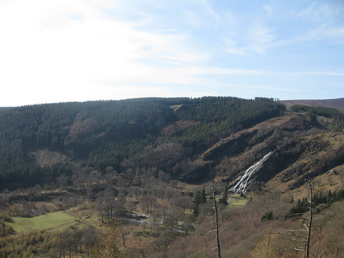 Powerscourt Waterfall with the surrounding valley
