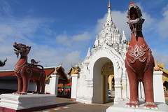 Lion Guardians at the entrance to Wat Phra That Hariphunchai