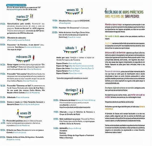 Santiago de Compostela 2017 - Festas do barrio de San Pedro - programa