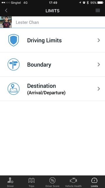 Singtel Smart Car - Modus iOS App - Limits