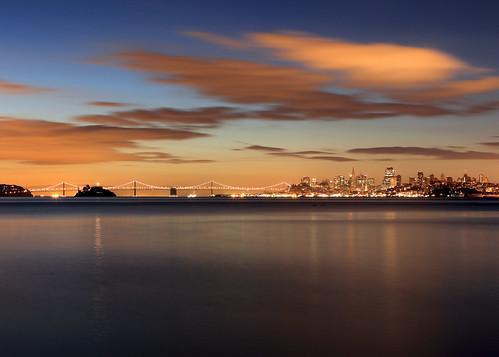 sanfrancisco california morning bridge usa clouds sunrise dawn bay san francisco long exposure downtown pyramid baybridge alcatraz transamerica sausalito
