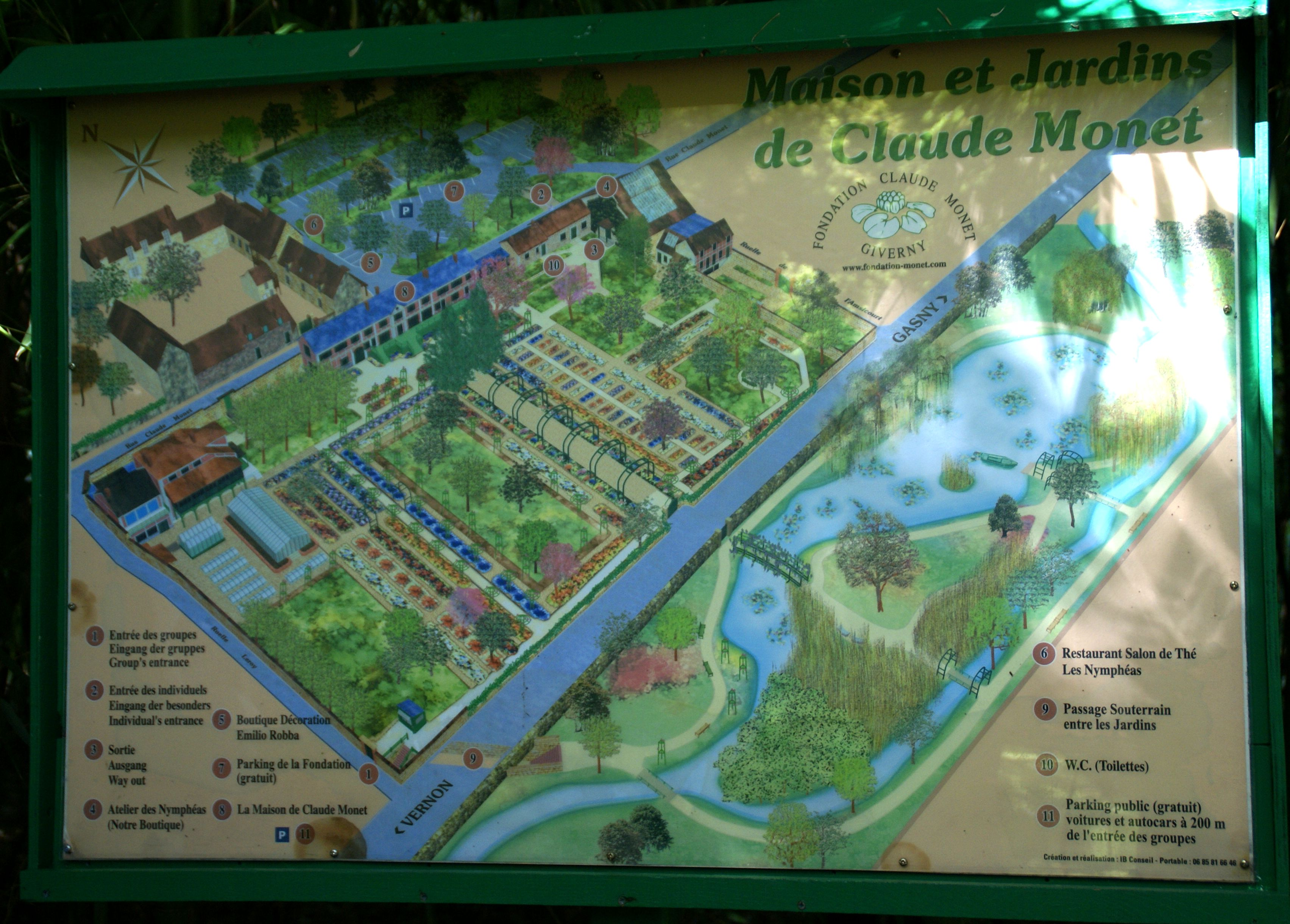 Fluidr Giverny Plan von Monets Garten Map of Monet s Garden
