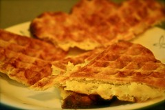 breakfast, baked goods, produce, food, dish, dessert, cuisine, waffle,