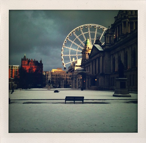 city ireland winter people sunlight snow cold eye wheel mobile hall afternoon january ferris belfast chilly northern bigwheel snowballs iphone shakeitphoto