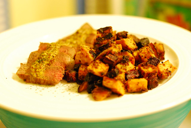 Mustard Lamb Chop with Roasted Sweet Potatoes & Beets | Flickr - Photo ...