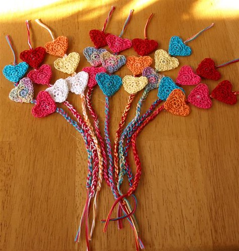 Knitting Pattern For A Book Marker : crochet heart bookmarks Flickr - Photo Sharing!