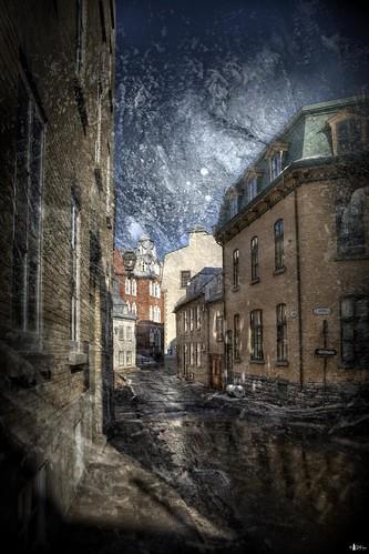 road snow canada buildings quebec melt quebeccity oldtown textured citystreet cs4 photomatix niksfilters hdr5ex texturebyciertamiranda