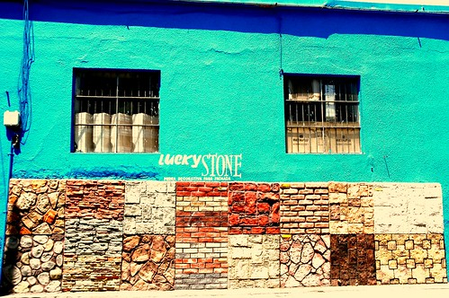 Lucky STONE, samples, turquoise wall, Zona Centro, Guadalajara, Jalisco, Mexico by Wonderlane