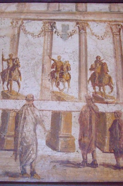 Roman fresco depicting equestrians and togate men recovered from Vesuvian Ash in Stabiae 1st century BCE-1st century CE