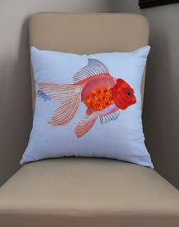linen fish pillow
