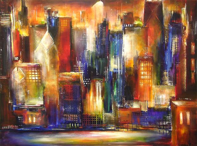 Chicago skyline painting dscn4544 fixed copy flickr for Chicago mural artist