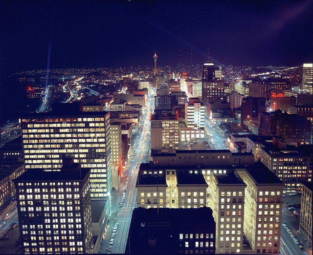 Night view north from Smith Tower, circa 1966