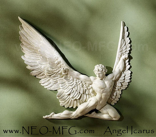 "ANGEL ICARUS MALE SCULPTURAL RELIEF WALL FRIEZE 11"" www.NEO-MFG.com"