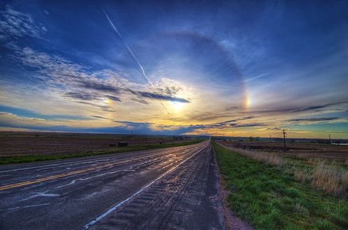 road sun nature sunrise landscape solar vanishingpoint rainbow nikon highway colorado searchthebest natural weld halo ring co leading hdr 2010 atmosphericoptics optics d300 noco highway14 clff cs5 abigfave platinumheartaward scenicsnotjustlandscapes tokina1116