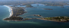 archipelago, estuary, cape, sea, bay, inlet, shore, artificial island, aerial photography, spit, cove, coast,