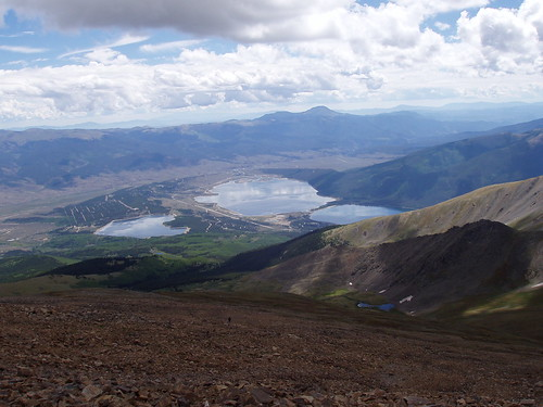 The Twin Lakes as seen from the summit.
