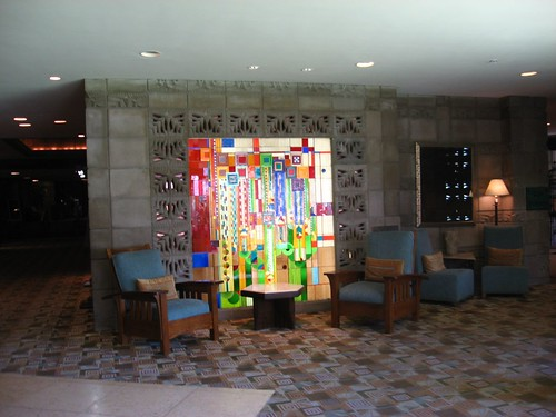 stained glass in the lobby
