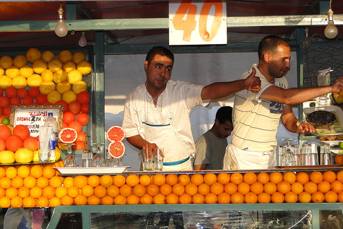 Orange Juice Sellers in Djermaa el-Fna (Central Square) - Medina (Old City) - Marrakesh, Morocco