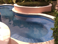 hot tub(0.0), jacuzzi(0.0), pond(0.0), backyard(1.0), swimming pool(1.0), reflecting pool(1.0),