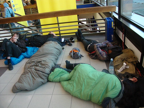 one of many airport sleeps. at least they are warm