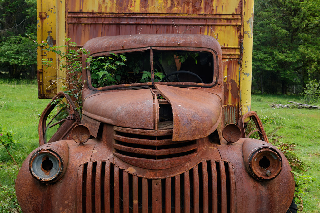 A close-up of the front of an old moving van in the Quinault Rain Forest