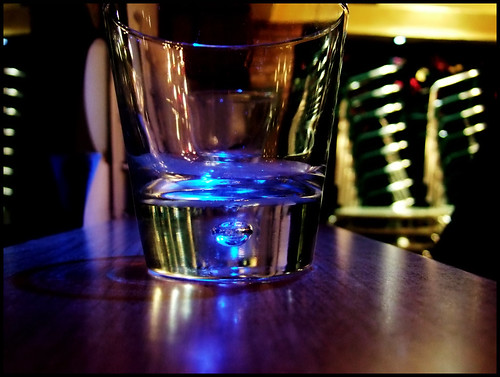 late at night, an empty glass