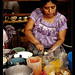 Woman selling tostadas on Market, Guatemala