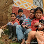 Kids with Their Puppies - Near Kuelap, Peru