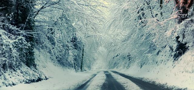 walking down a snowy road