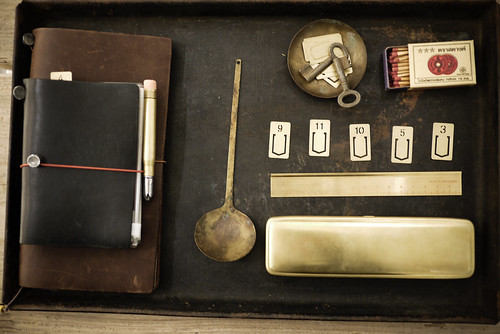 Nostalgic display - leather, brass