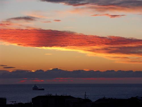 sea sky clouds dawn nuvole mare alba liguria cielo