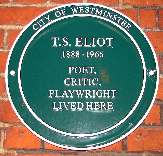 T. S. Eliot green plaque - T. S. Eliot 1888-1965 poet, critic, playwright lived here