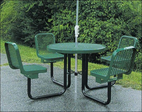 36 round metal picnic table w attached chairs flickr - Aluminium picnic table with umbrella ...