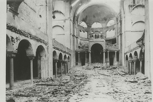 Interior view of the destroyed Fasanenstrasse Synagogue, Berlin, burned during the November Pogroms