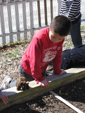 Buddy gardening with a second grade class