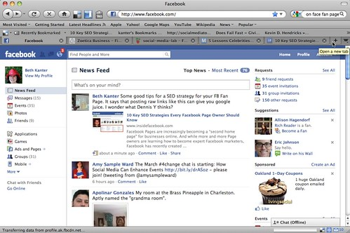 Facebook fixed header bar