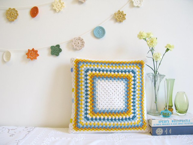 Greta crochet cushion by Emma Lamb