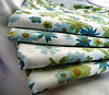 vintage blue green and brown floral fabric