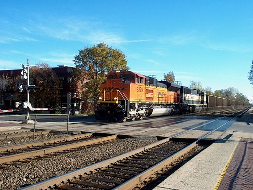 Westbound BNSF Railway unit coal train.  Riverside Illinois. October 2006. by Eddie from Chicago