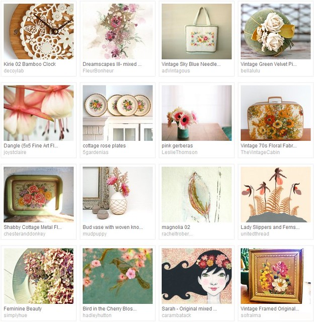 floral explosion, Etsy treasury curated by Emma Lamb