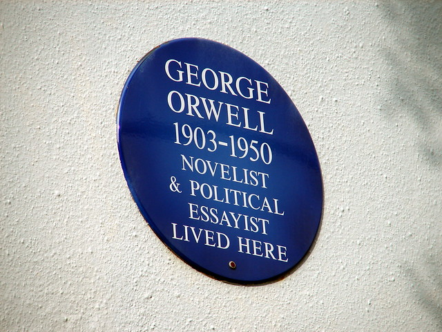 George Orwell blue plaque - George Orwell 1903-1950 novelist & political essayist lived here