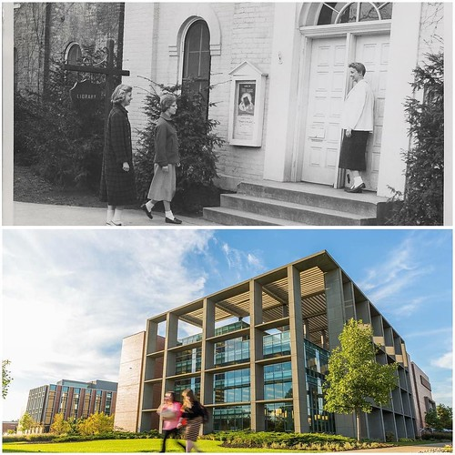 Then & Now: The library looks just a little bit different ... #TBT to when the library was located in Heritage Hall in 1925, to now, our current location and four stories of studying fun in the Christopher Center!