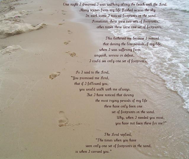 Footprints in the sand poem printable footprints in the sand poem