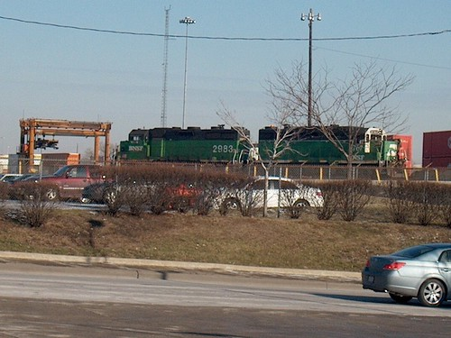 Two former Burlington Northern RR EMD roadswitchers on the south hump at the BNSF Railway's Corwith Yard. Chicago Illinois. January 2007. by Eddie from Chicago