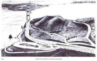 San Francisco-Marin Crossing: Lower deck approach to Golden Gate Bridge (1967)